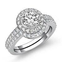 Round Shape Diamond Women's Bridal Set Engagement Ring GIA F SI1 Platinum 2ct