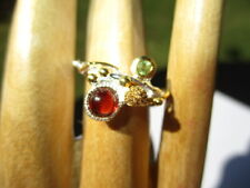 Ring Peridot & Blood Red Garnet 28- Estate Hand Made 925 Sterling Silver