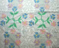 Vintage Utica Mod Flower Power King Flat Sheet Cotton Blend Daisy Pastel USA