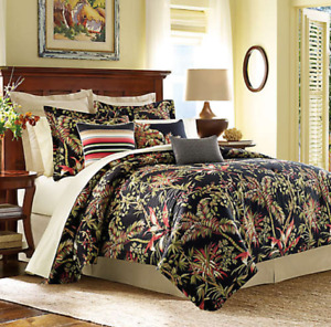 Tommy Bahama Jungle Drive Duvet Cover King 100% Cotton Black Floral NEW