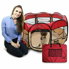 """45"""" Pop Up Pet Puppy Playpen - Perfect 45"""" wide x 24"""" high Red, Tan and Black"""