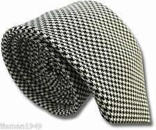 British Woven Black and White Houndstooth Pattern Men's Tie