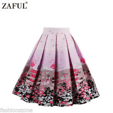 ZAFUL Womens 1950's Rockabilly Floral Evening Pleated A-line Swing Skirts Dress