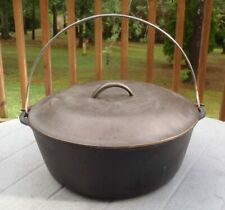 Large Vintage Cast Iron #10 DUTCH OVEN With Matching #10 Lid Metal Bail Handle