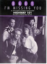"""HIGHWAY 101 """"BABY, I'M MISSING YOU"""" SHEET MUSIC-PIANO/VOCAL/CHORDS-1992-RARE-NEW"""