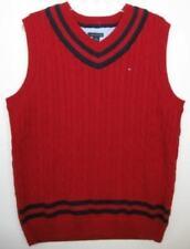 Tommy Hilfiger Boys Red/Navy Cableknit Vest (L-16/18) NWOT