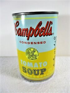 """CAMPBELL'S ANDY WARHOL BLUE & YELLOW TOMATO SOUP CAN """"Pop Art is for everyone""""."""