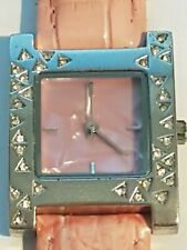 Ladies Stainless Steel Dusky Pink and Clear Crystal Watch