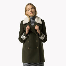 Tommy Hilfiger Wool Slim Peacoat Gigi Hadid Olive Night Size 2 Box27 08 F