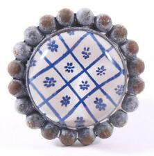 Möbelknopf, Knopf, Griff, Knauf Glas Metall blau weiss La Finesse