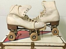 Pair 1914 Chicago Roller Skates & 1950's Red / White Metal Suitcase & Skate Key