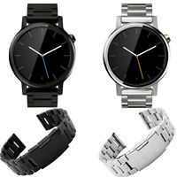 Black Silver Luxury Stainless Steel Watch Band For Motorola Moto 360 2nd 42mm