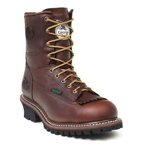 """Georgia Men's 8"""" Waterproof Logger Boot Brown G7113"""