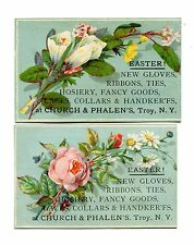 Victorian Trade Card pair CHURCH & PHALENS Troy NY Easter Gloves Ribbons Lace
