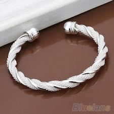 Women's Fashion Simple Silver Plated Twist Cuff Bangle Open Bracelet Grail