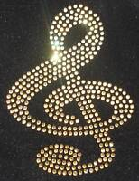 MUSIC NOTE CLEF gold Motif iron-on hotfix rhinestone crystal diamante transfer