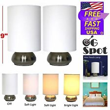 "Set 2 Small 9"" Light Accents Table lamps Brushed Nickel With Fabric Shades , New"