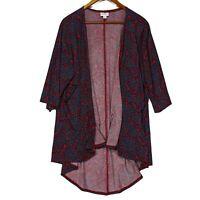 Lularoe Women's Red Simply Comfortable Paisley Cardigan Top - Size Medium