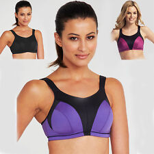 High Impact Sports Bra Top Women's Purple Wirefree Full Support Active 32d
