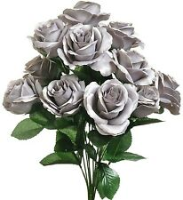 """12 Gray Open 4"""" Roses Artificial Silk Wedding Flowers Bouquets Centerpieces Fake"""