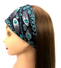 Headband Peacock Feather Paisley Rhinestones Stretch Fashion Headwrap Danbando