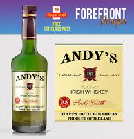 Personalised Irish Whiskey Bottle Label, Perfect Birthday/Wedding/ Gift