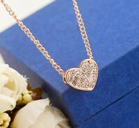 New 18K Rose Gold Filled Simple Cute Heart SWAROVSKI Crystal Pendant Necklace