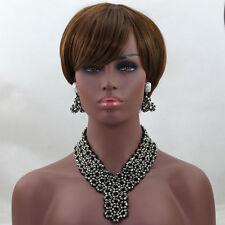 Black Net Style Choker African Bridal party wedding Bead Jewellery Set