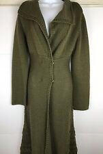 Anthropologie MOTH Knitted -Green Sweater Coat Long ~Size M ~ Wool **