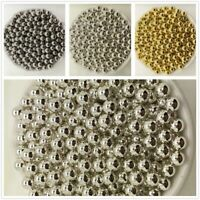 NEW DIY 4/5/6/8/10MM Gold Silver Acrylic No Hole Round Pearl Spacer Loose Beads