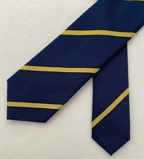 Rugby Ralph Lauren Repp Tie Navy & Yellow Stripe 100% Silk Hand Made in Italy
