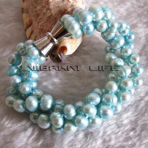 "7-8"" 6-8mm Turquoise Blue 3Row Freshwater Pearl Bracelet"