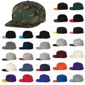 Yupoong Mens Wool Blend Flat Bill Snapback Cap Baseball Hat Adjustable - 6089M