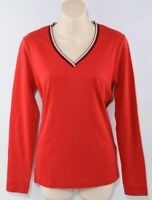 TOMMY HILFIGER Women's Long Sleeve Red Top, V-neck - Striped Neckline, size M