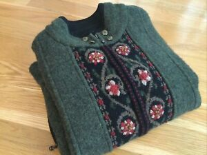 Icelandic Design Embroidered Green Wool Zip Up Sweater Jacket Women's Medium EUC