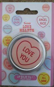"""Swizzels Love Hearts """"Love You"""" Lip Balm Tin - Peach Flavour"""