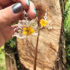 Resina de Flores hechas a mano Ángel Querubín pendientes Buttercups