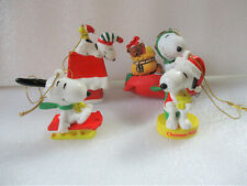 Lot Snoopy Christmas Ornaments Vintage Pvc Ceramic Plastic Willitts Airplane