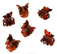 Set of 6 Mini 2cm Butterfly Hair Claws/Clips - Brown