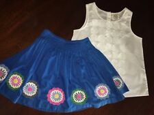 7/8 Mini Boden Outfit Ex Condition White Sleveless Top & Blue Embroidered Skirt