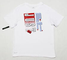 "NWT NIKE ""Just Do It"" Cotton Dri-Fit White Throwback Retro Tee T-Shirt Small"