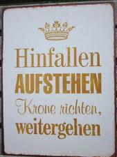 """Lafinesse Vintage Schild """"hinfallen Aufstehen Krone Richten"""" Metallschild Shabby"""