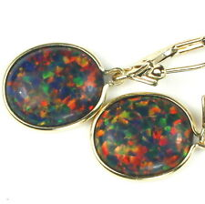 OCTOBER • E201, 12x10mm Created Black Opal, 14k Yellow Gold Leverback Earrings