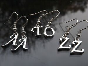 1 Pair Personalised Silver Plated Initial Letter Earrings for Pierced Ears