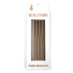 Urban Outfitters Reusable 4 Gold Straight Metal Straws Drinks Party With Brush