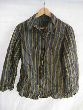 NICOLA WAITE  size 1/10 Olive & Gold Crushed Stripe Poly/Viscose Womens Shirt