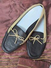AEROSOLES Women Black beige Leather Bow Slide dock shoe size 10M