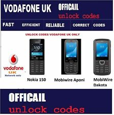 Unlock Codes for Nokia 150 , Mobiwire Aponi ,MobiWire Dakota Vodafone UK only