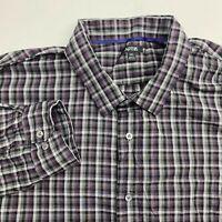 Apt. 9 Button Up Shirt Men's Size 2XL Long Sleeve Black Gray Purple Plaid Cotton
