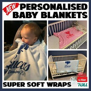 Personalised Baby Blanket Newborn Boy Girl New-born Swaddle Wrap Christmas Gift
